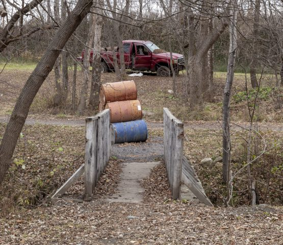 airsoft playing field with bridge and truck