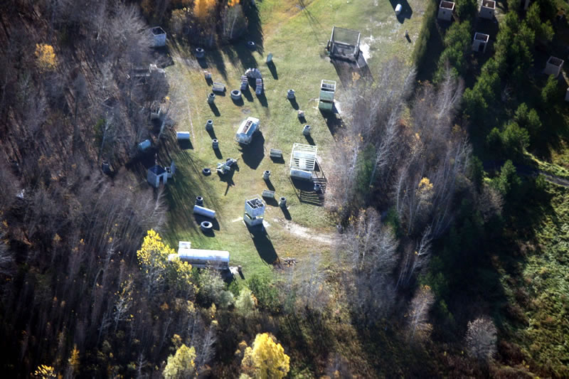 over head view of the commando paintball field in ottawa