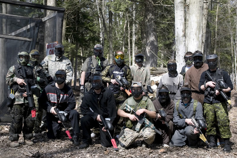 team building exercise at paintball