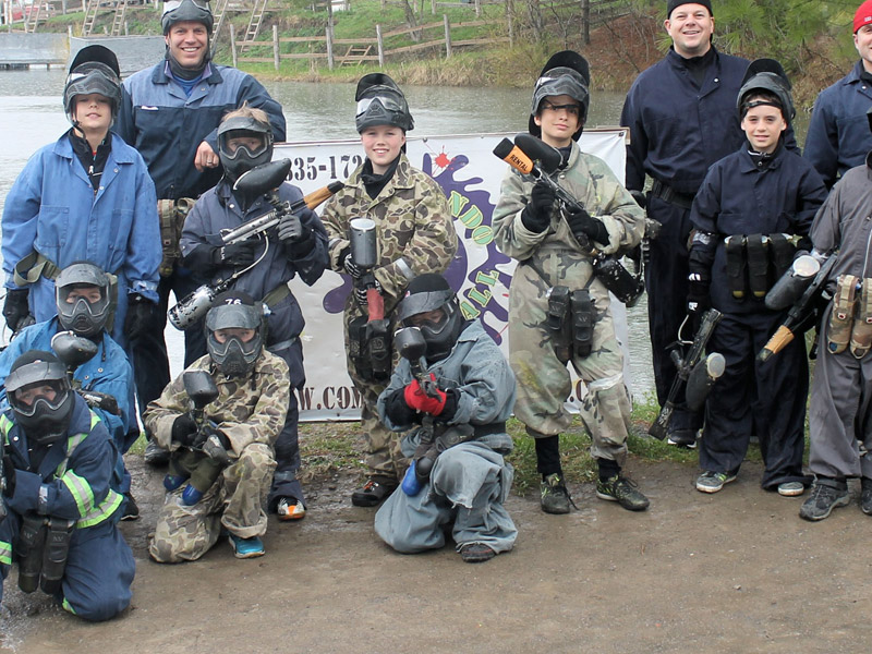kids playing low impact paintball