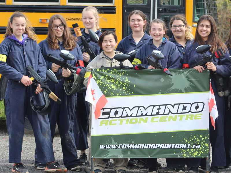 group of girls at commando paintball