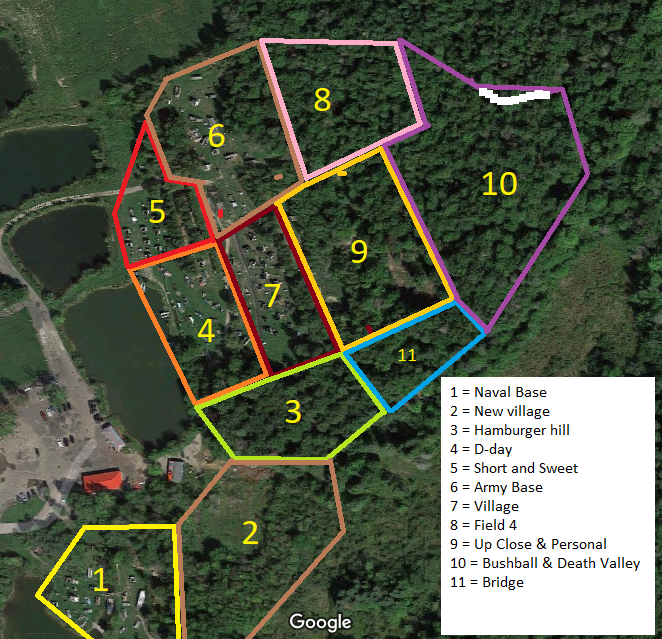 paintball field map of commando paintball action centre in Ottawa